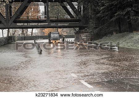 Stock Photo of River Ticino overflow in Sesto Calende, Varese.