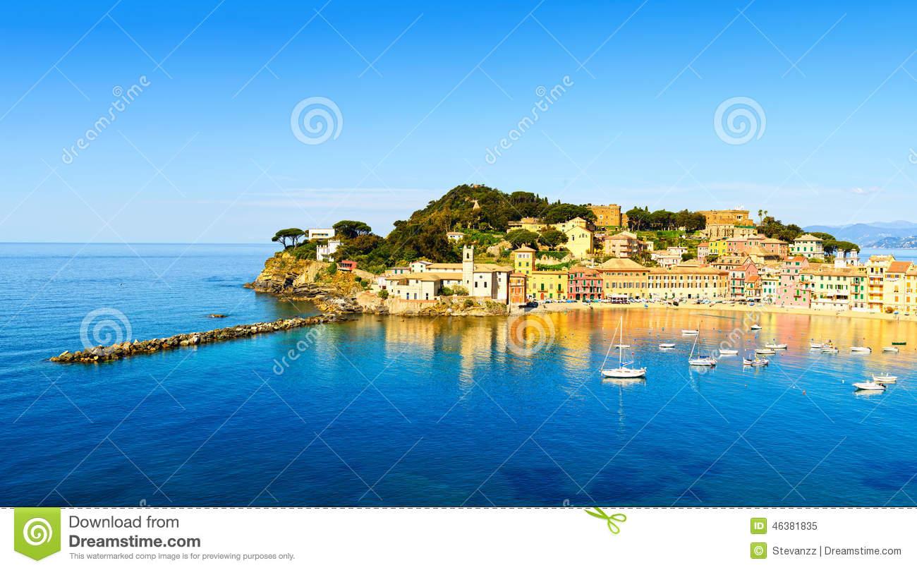 Sestri Levante, Silence Bay Sea And Beach View. Liguria, Italy.