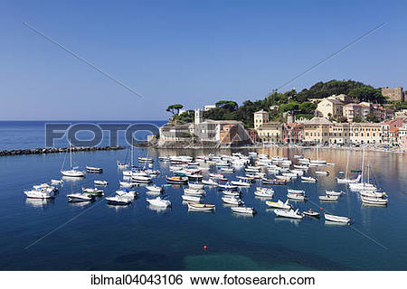 """Stock Images of """"Harbour in Baia del Silenzio bay, Grand Hotel dei."""