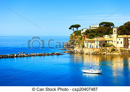 Pictures of Sestri Levante, silence bay sea harbor and trees on.