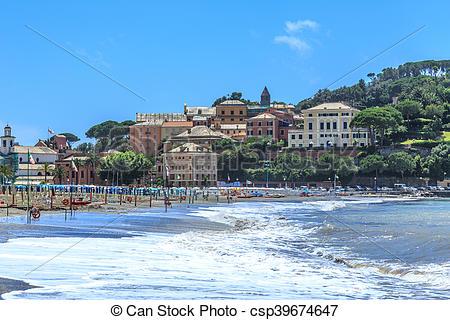 Stock Photo of Italian resort Sestri Levante sea beach view.