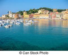 Stock Photo of Italian resort Sestri Levante sea beach panorama.