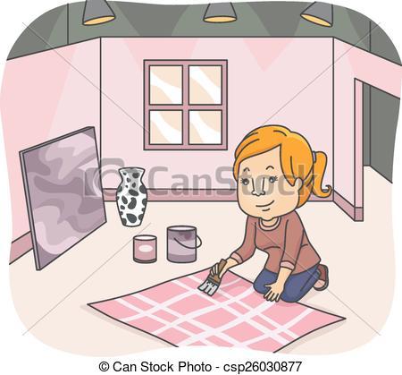 Vectors Illustration of Girl Set Designer.