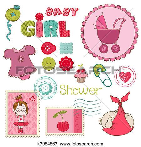 Clip Art of Scrapbook Baby shower Girl Set.