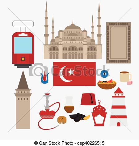 Vector Clip Art of Turkish flat set design elements, landmark of.