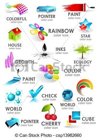 Clip Art Vector of Design 3d color icon set. Design elements.