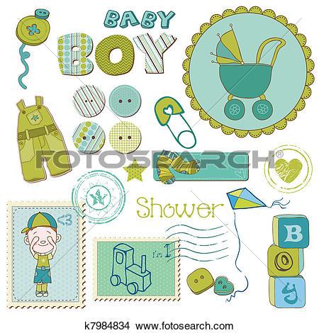Clipart of Scrapbook Baby shower Boy Set.