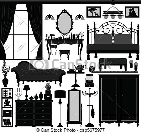 Vectors Illustration of Bedroom Home Interior Design Set.