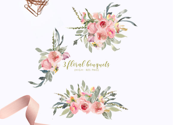 Watercolor Soft Blush Flower Clipart Set.