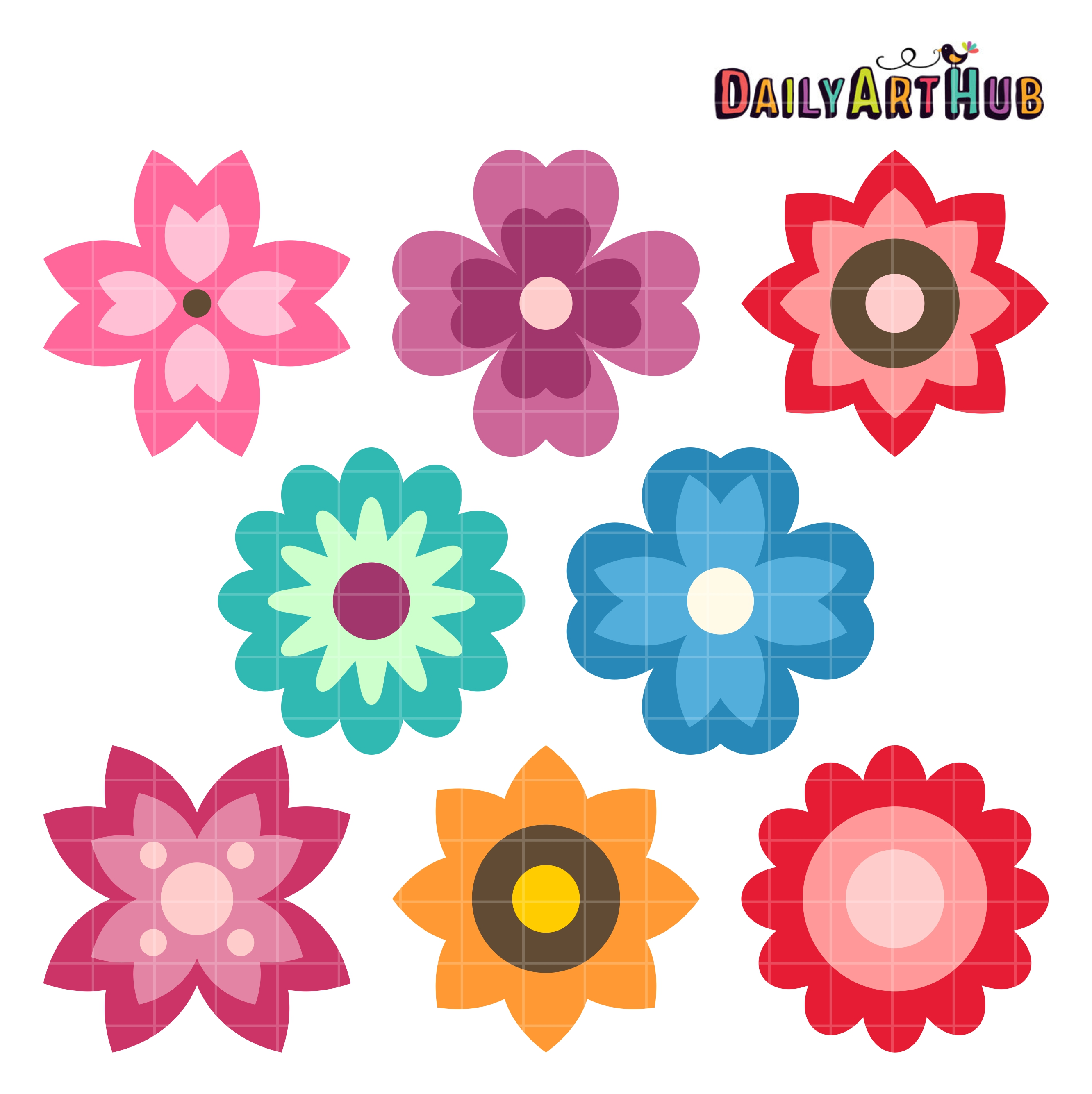Set of flowers clipart 5 » Clipart Station.