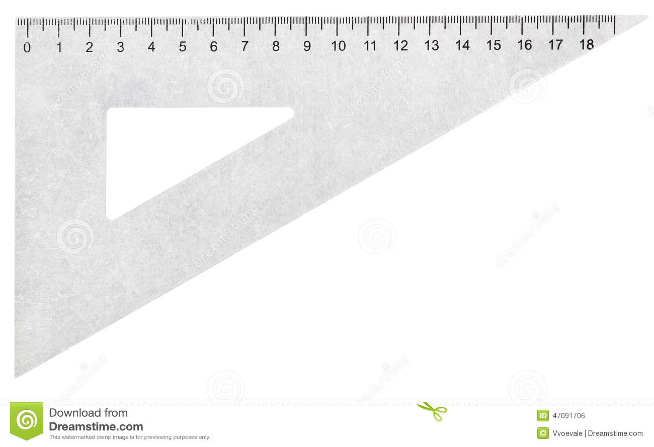 Metal Set Square (triangle) Isolated On White Stock Photo.