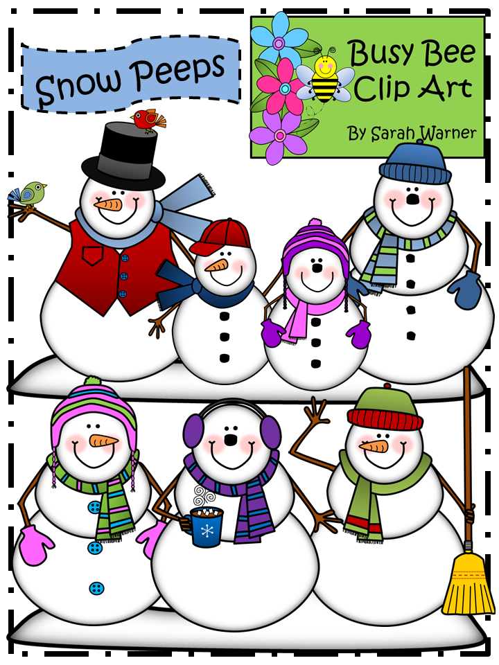 Snowman Clip Art: Snow Peeps! {By Busy Bee Clip Art.