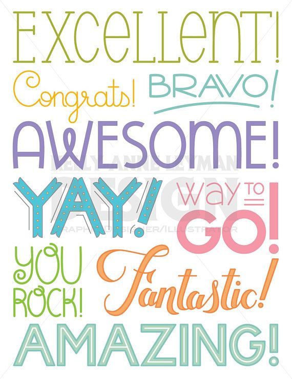 Achievement Word Clipart, Encouragement Typography Overlay.