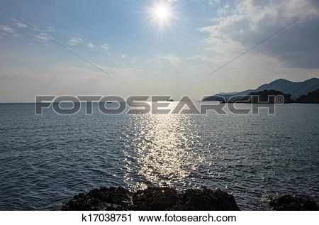 Stock Photography of The sun shining on the Seto Inland Sea.