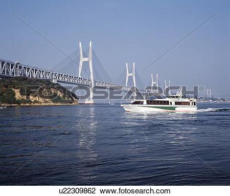 Stock Photo of Seto Ohashi bridge and a pleasure boat, Kagawa.