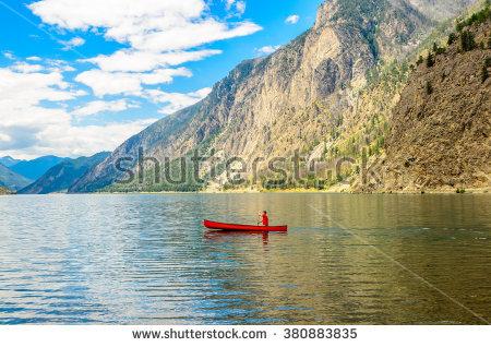 Red Canoe Mountain Lake Rocky Mountains Stock Photo 108652184.