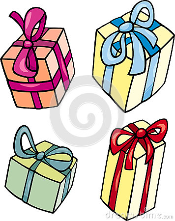 Christmas Or Birthday Gift Clip Art Set Royalty Free Stock Photos.