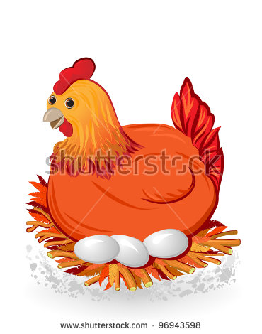 Hen Sitting On Eggs Stock Images, Royalty.