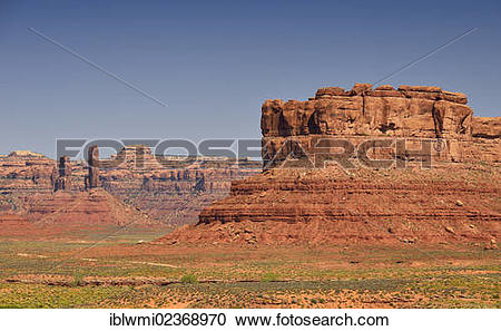 """Stock Photography of """"Setting Hen Butte, Castle Butte, Valley of."""