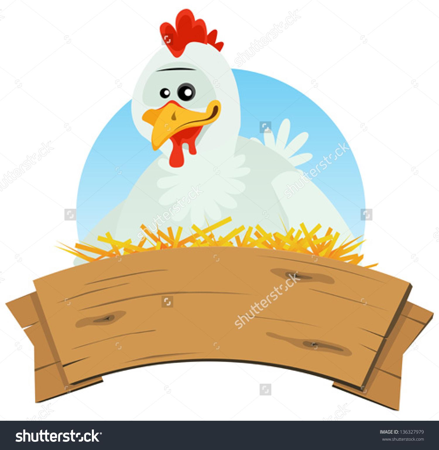 Chicken Nest Wood Banner Illustration Cute Stock Vector 136327979.