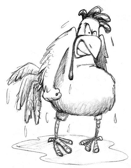 wet setting hen.