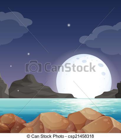 Vector Clip Art of Moon landscape.