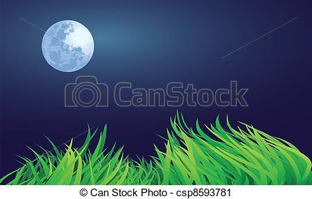 Vector Clip Art of full moon night illustrations, countryside.