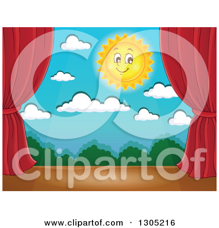 Clipart of a Night Time Stage Set with a Happy Crescent Moon, Rays.