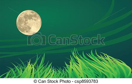 Vectors of full moon night illustrations, countryside setting.