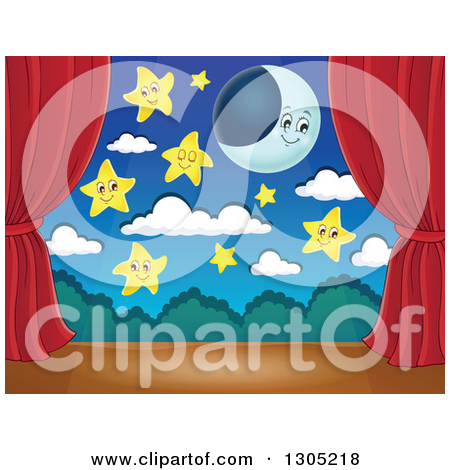 Clipart of a Night Time Stage Set with a Full Moon, Clouds, a Blue.