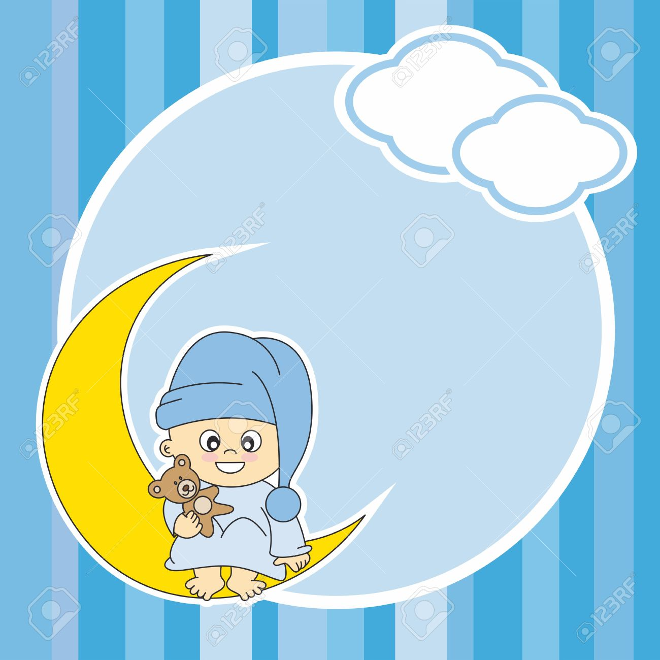 Setting Baby Boy Sitting On The Moon. Frame Royalty Free Cliparts.