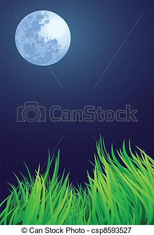 Vectors Illustration of full moon night illustrations, countryside.