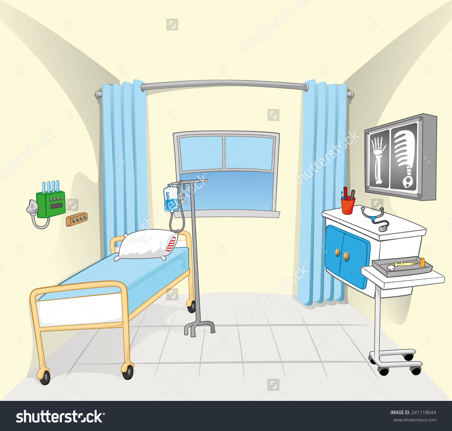 This Illustration Background Setting Hospital Room Stock Vector.