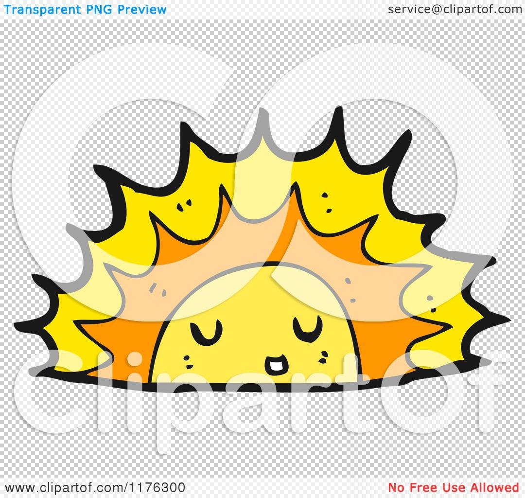 Cartoon of the Sun Setting or Rising.