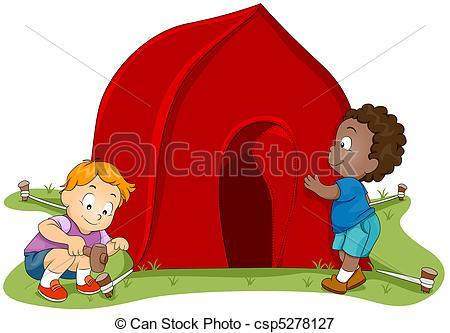 Stock Illustrations of Tent Setup.