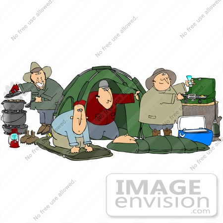 Clip Art Graphic of a Group Of Caucasian Men Setting Up Camp While.