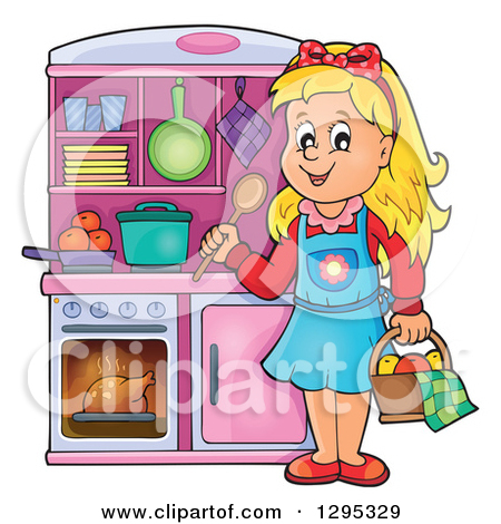 Clipart of a Happy Blond White Girl Playing in a Pretend Kitchen.