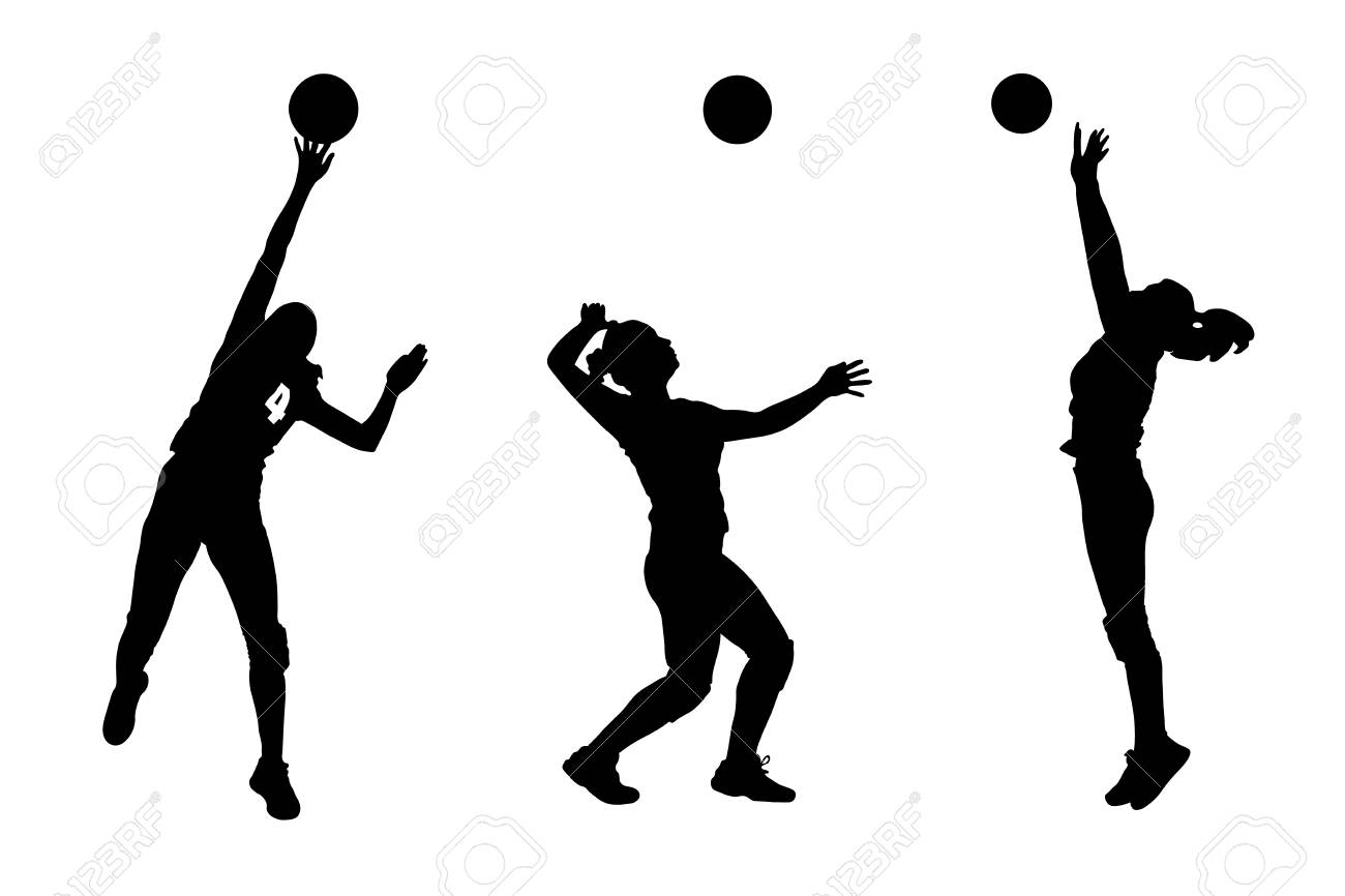 13092049 Images Of Female Volleyball Silhouettes Spiking And.