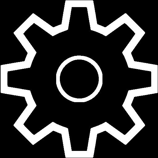 White settings icon.