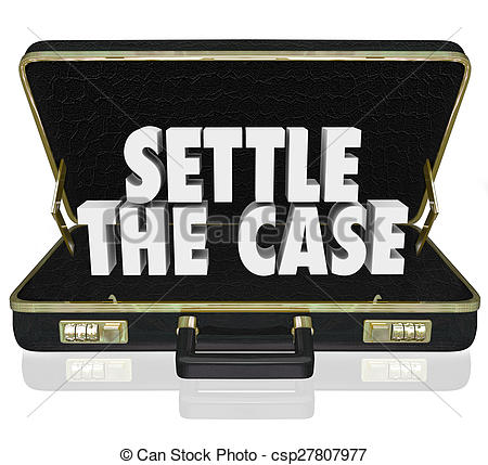 Stock Illustrations of Settle the Case Finish Lawsuit Briefcase.