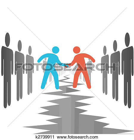 Clipart of People on sides settle agreement deal k2739911.