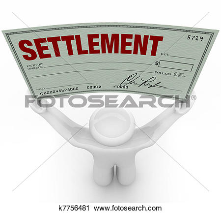 Clipart of Man Holding Big Settlement Check Agreement Money.