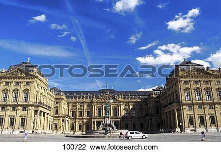 Stock Photo of Facade of palace, Wurzburg Residence, Franconia.
