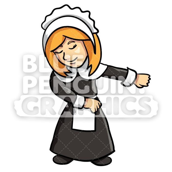 The Settlers Thanksgiving Girl Floss Dance Vector Cartoon.
