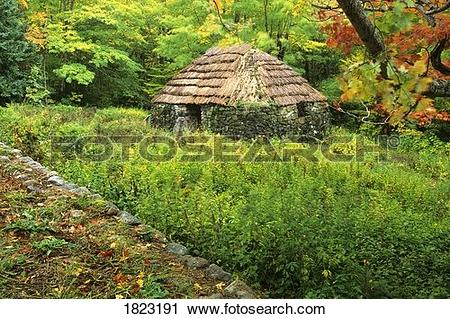 Stock Photography of Replica of Scottish settler's cabin, Lone.