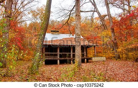 Stock Photo of settlers cabin in missouri.