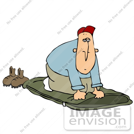 Clip Art Graphic of a Caucasian Man Laying Down His Sleeping Bag.
