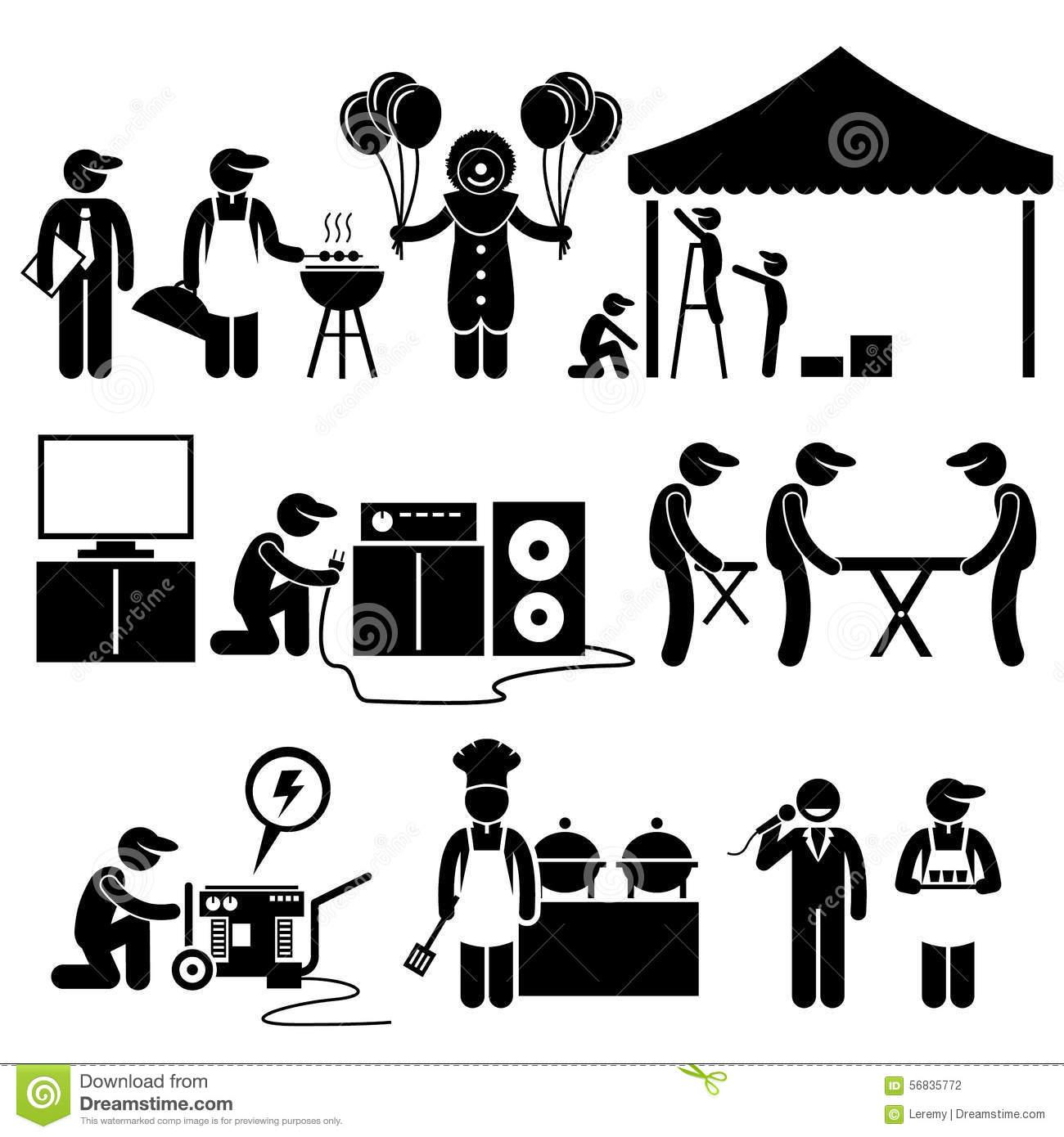 Celebration Party Festival Event Services Clipart Stock Vector.