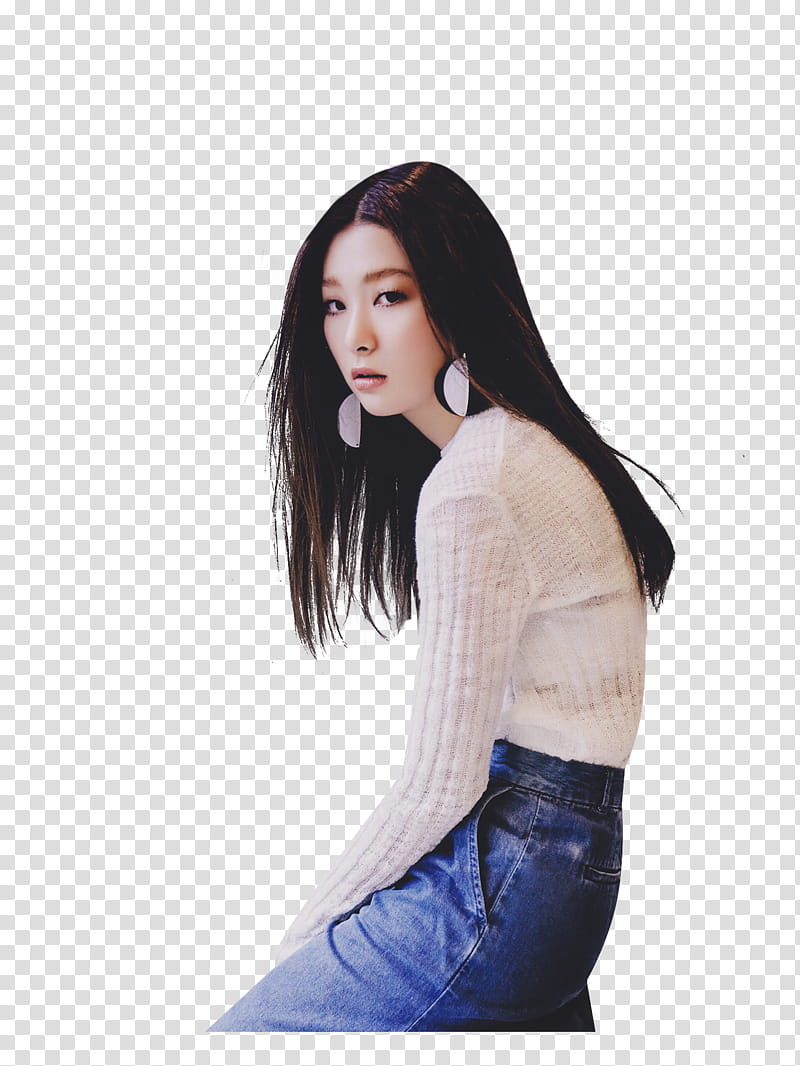 Seulgi, woman slouching transparent background PNG clipart.