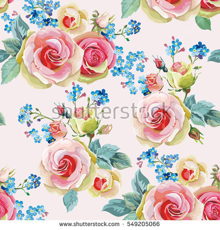 Beautiful Seamless Floral Pattern Flower Vector Stock Vector.